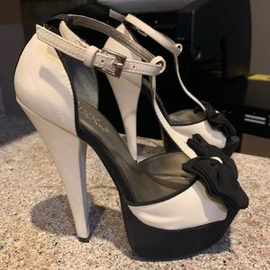 Black & Ivory Heels with Bow